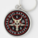 Hail Satan Baphomet Goat in Pentagram Silver-Colored Round Key Ring