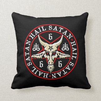 Hail Satan Baphomet Goat in Pentagram Throw Pillow