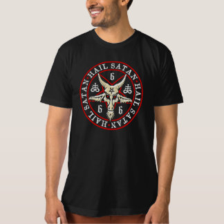 """Hail Satan"" Baphomet in Pentagram Pagan Shirts"
