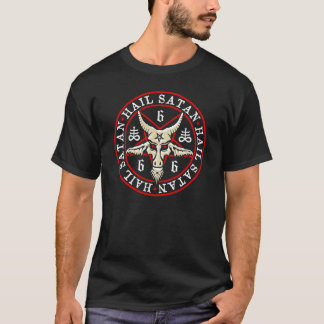 """Hail Satan"" Baphomet in Pentagram Pagan T-Shirt"