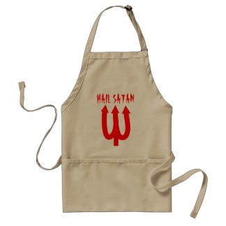 Hail Satan BBQ apron with red devils fork