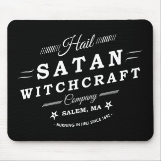 Hail Satan Witchcraft Co Salem MA Vintage Logo Mouse Pad
