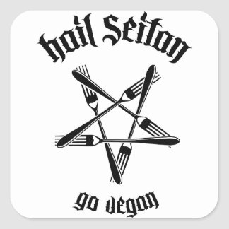 Hail Seitan 1.1 (black) Square Sticker