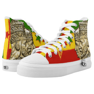 Haile Selassie Empress Menen Hi Top Rasta Shoes Printed Shoes
