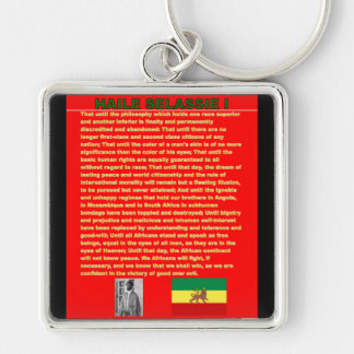 Haile Selassie Famous War Speech to UN 1963 Silver-Colored Square Key Ring