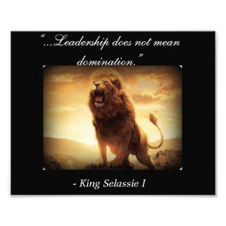 Haile Selassie I Quotes; Rastafari Lion of Judah Photo Print