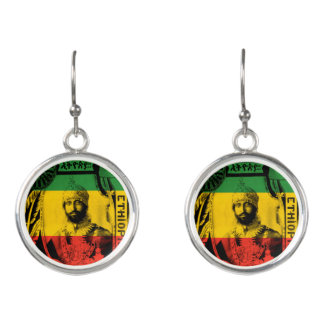 Haile Selassie Sliver plated rasta drop earrings
