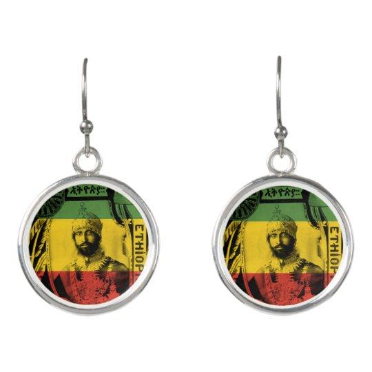 Haile Selassie Sliver plated rasta drop earrings