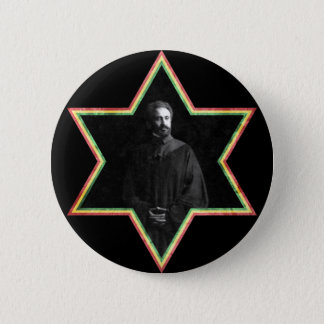 Haile Selassie Star of David 6 Cm Round Badge