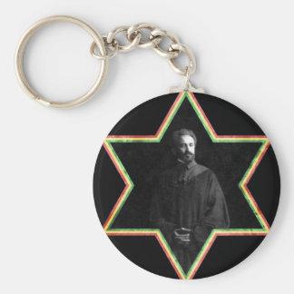 Haile Selassie Star of David Basic Round Button Key Ring