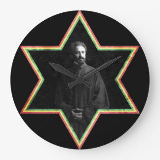 Haile Selassie Star of David Large Clock