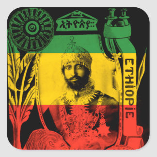 Haile Selassie Sticker Red Gold Green Rasta