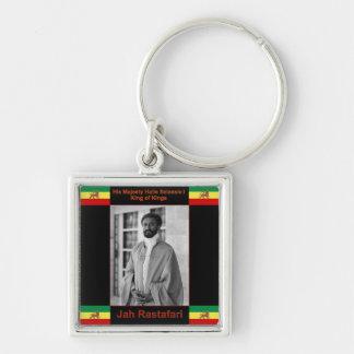 Haile Selassie the Lion of Judah, Jah Rastafari Silver-Colored Square Key Ring