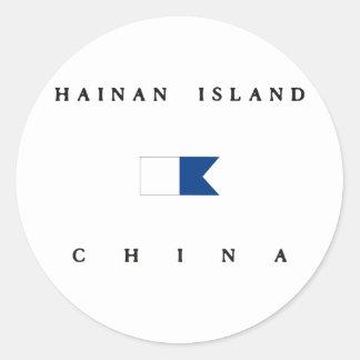 Hainan Island China Alpha Dive Flag Round Stickers