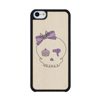 Hair Accessory Skull (Bow Detail Purple) Carved® Maple iPhone 5C Slim Case