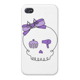 Hair Accessory Skull (Bow Detail - Purple) Covers For iPhone 4
