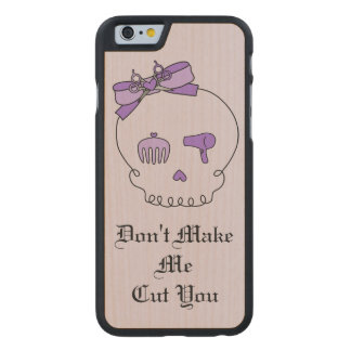 Hair Accessory Skull (Bow Detail Purple w/ Text 2) Carved® Maple iPhone 6 Slim Case
