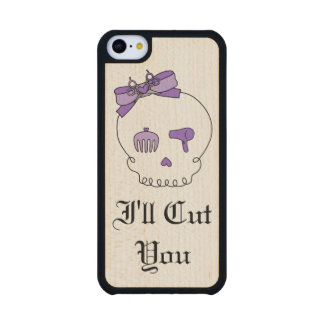 Hair Accessory Skull (Bow Detail Purple w/ Text 3) Carved® Maple iPhone 5C Slim Case