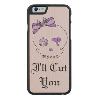 Hair Accessory Skull (Bow Detail Purple w/ Text 4) Carved® Maple iPhone 6 Slim Case