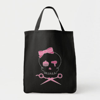 Hair Accessory Skull & Scissor Crossbones (Dark) Tote Bag