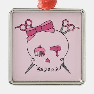 Hair Accessory Skull (Scissor Crossbones Pink) Christmas Ornament
