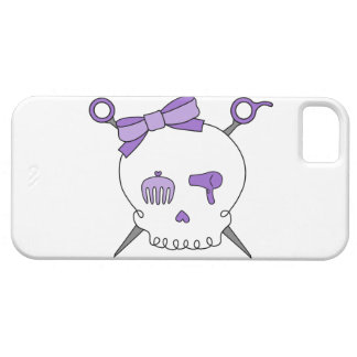 Hair Accessory Skull Scissors Purple iPhone 5 Case