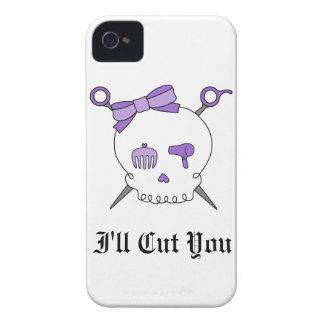 Hair Accessory Skull & Scissors (Purple) iPhone 4 Cover