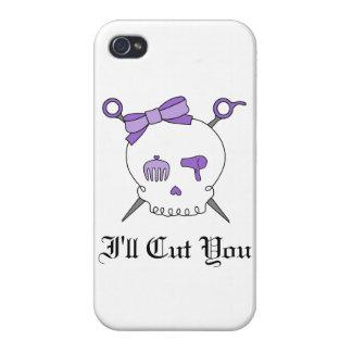 Hair Accessory Skull & Scissors (Purple) iPhone 4 Case