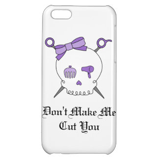 Hair Accessory Skull Scissors Purple Cover For iPhone 5C