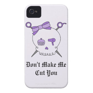 Hair Accessory Skull & Scissors (Purple Version 2) iPhone 4 Case