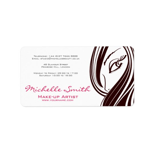Hair and beauty Lash Extension company branding Address Label