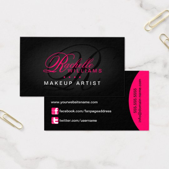 Hair and Makeup Artist Monogram Business Card