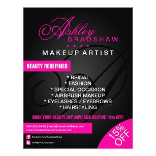 Makeup artist flyers leaflets zazzle hair and makeup artist monogram promotional flyer saigontimesfo