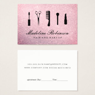 Hair and Makeup Glitter Appointment Business Card