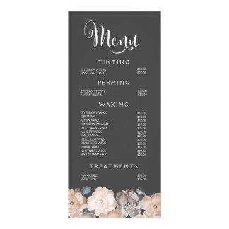 Hair Beauty Salon Beautician Menu Price List Customized Rack Card