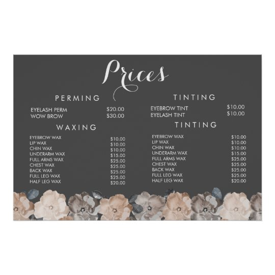 Hair Beauty Salon Beautician Menu Price Poster