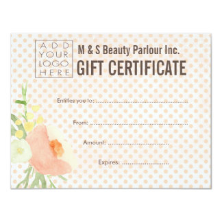 Hair Beauty Salon Gift Certificate Template 11 Cm X 14 Cm Invitation Card