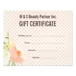 Hair Beauty Salon Gift Certificate Template Flyers