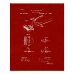 Hair Clipper Patent - Burgundy Red Poster