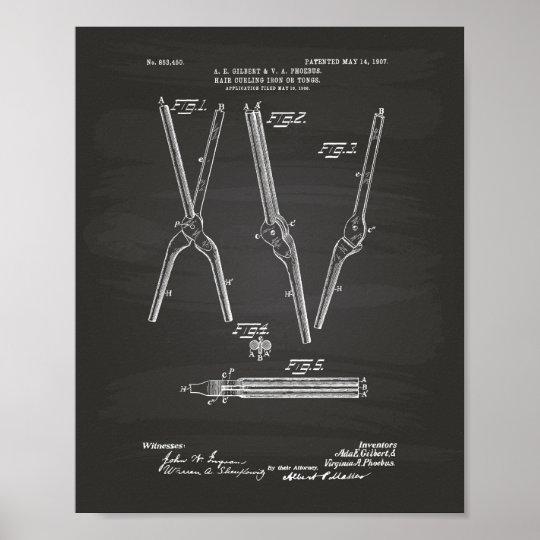 Hair Curling Iron 1907 Patent Art Chalkboard Poster