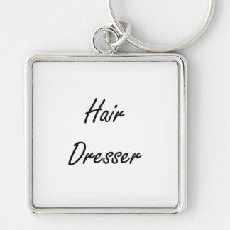 Hair Dresser Artistic Job Design Silver-Colored Square Key Ring