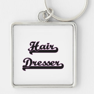 Hair Dresser Classic Job Design Silver-Colored Square Key Ring