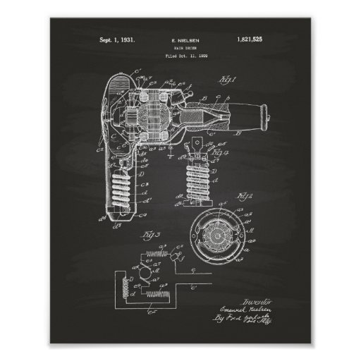 Hair Drier 1929 Patent Art Chalkboard Poster