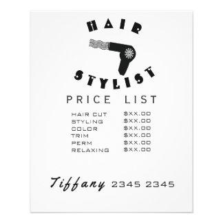 Hair Drier Geometric Hair Wave Stylist Price List 11.5 Cm X 14 Cm Flyer