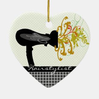 Hair Dryer Blowing  Flowers Hair Stylist Ceramic Heart Decoration