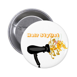 Hair Dryer with  Flowers 6 Cm Round Badge