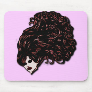 Hair Girl (Pink and Red) Mouse Pad