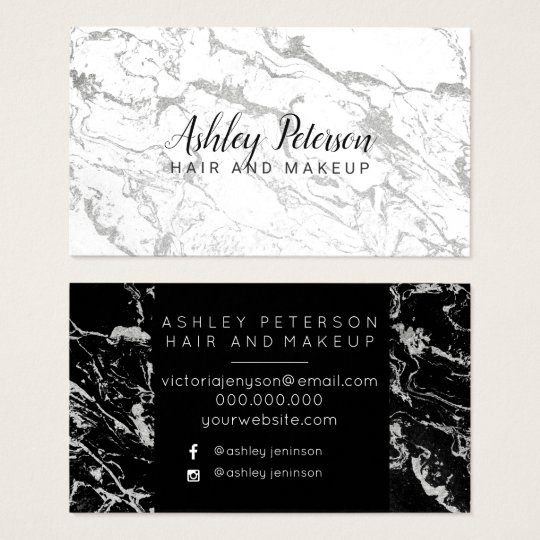 Hair makeup black white silver marble typography business