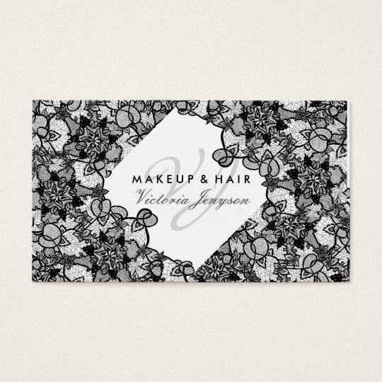 Hair makeup floral black hand drawn lace pattern