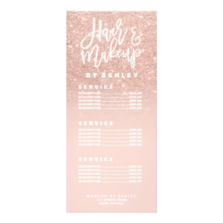 Hair makeup typography blush rose gold price list rack card